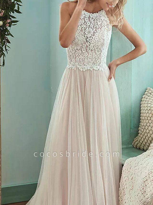 A-Line Wedding Dresses Jewel Neck Floor Length Lace Tulle Sleeveless Casual Boho Plus Size