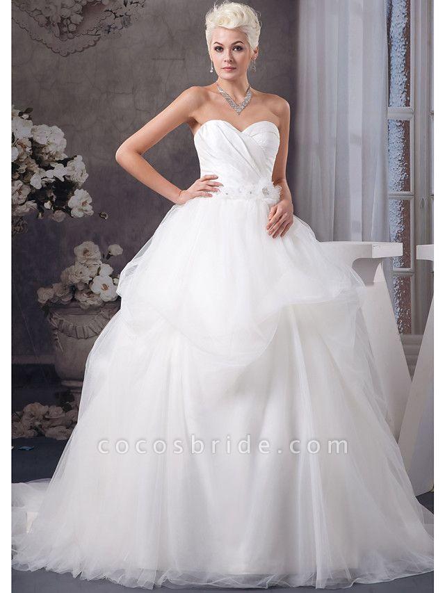 A-Line Sweetheart Neckline Court Train Organza Satin Strapless Wedding Dresses