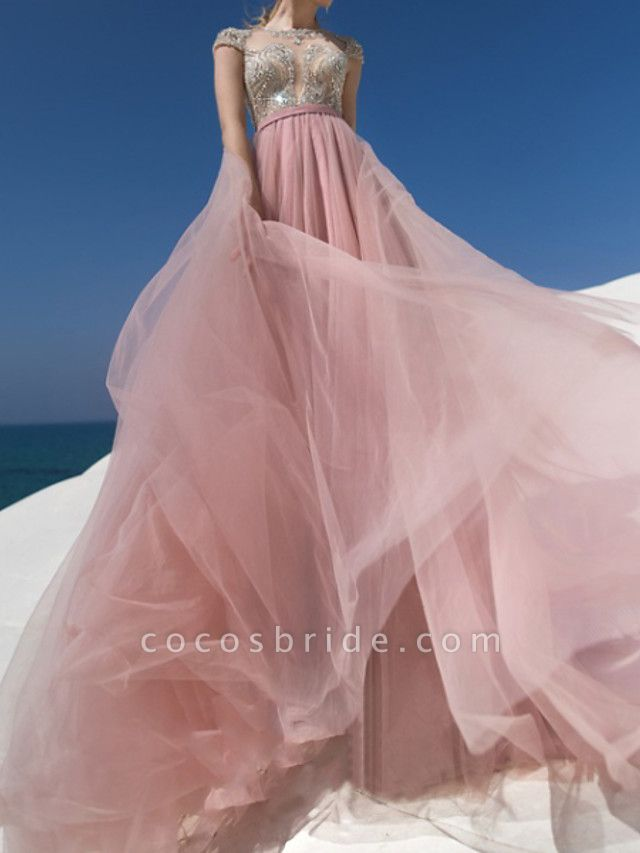 A-Line Jewel Neck Sweep \ Brush Train Chiffon Lace Tulle Short Sleeve Beach Sexy Wedding Dress in Color See-Through Wedding Dresses