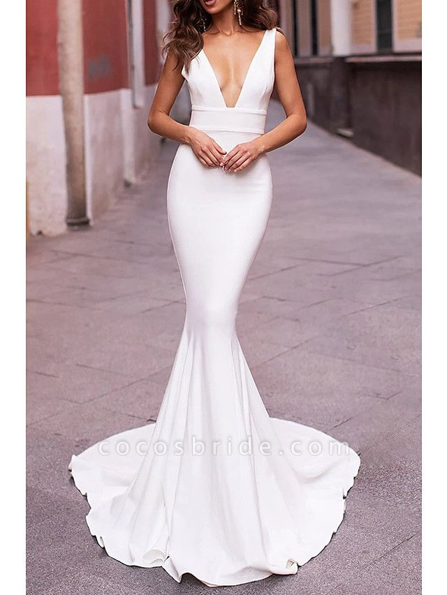 Mermaid \ Trumpet Wedding Dresses Plunging Neck Sweep \ Brush Train Stretch Satin Sleeveless Sexy Plus Size