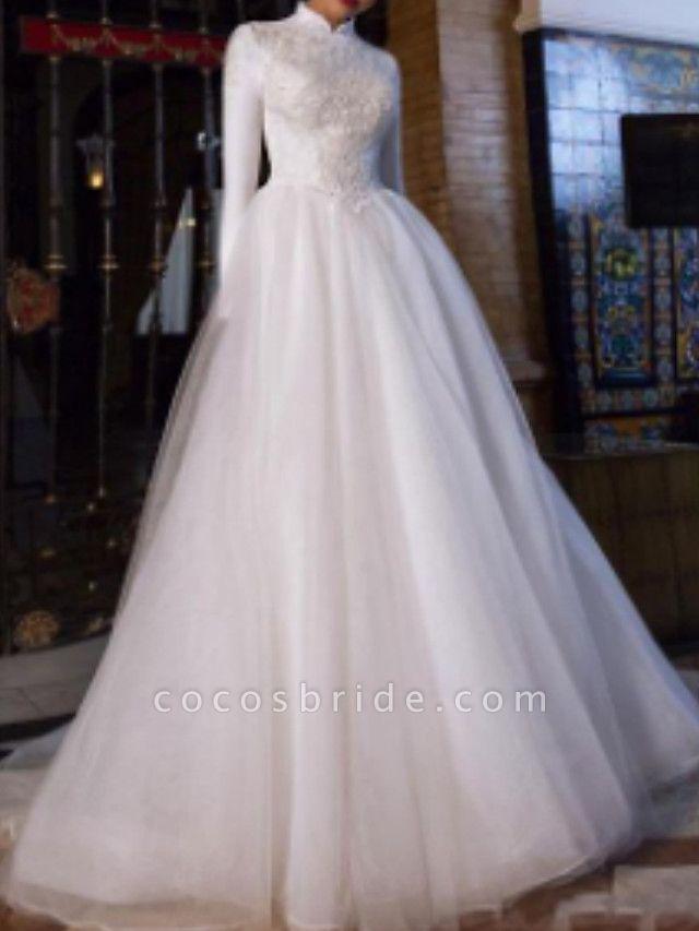 A-Line Wedding Dresses High Neck Court Train Lace Satin Tulle Long Sleeve Vintage Plus Size