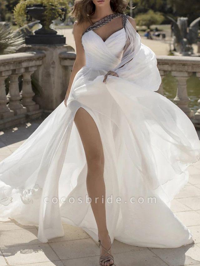 A-Line Wedding Dresses One Shoulder V Neck Sweep \ Brush Train Chiffon Sleeveless Vintage Sexy Wedding Dress in Color
