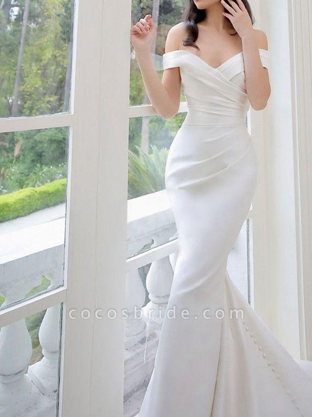 Lt8036994 White Boho Mermaid Off The Should Wedding Dress