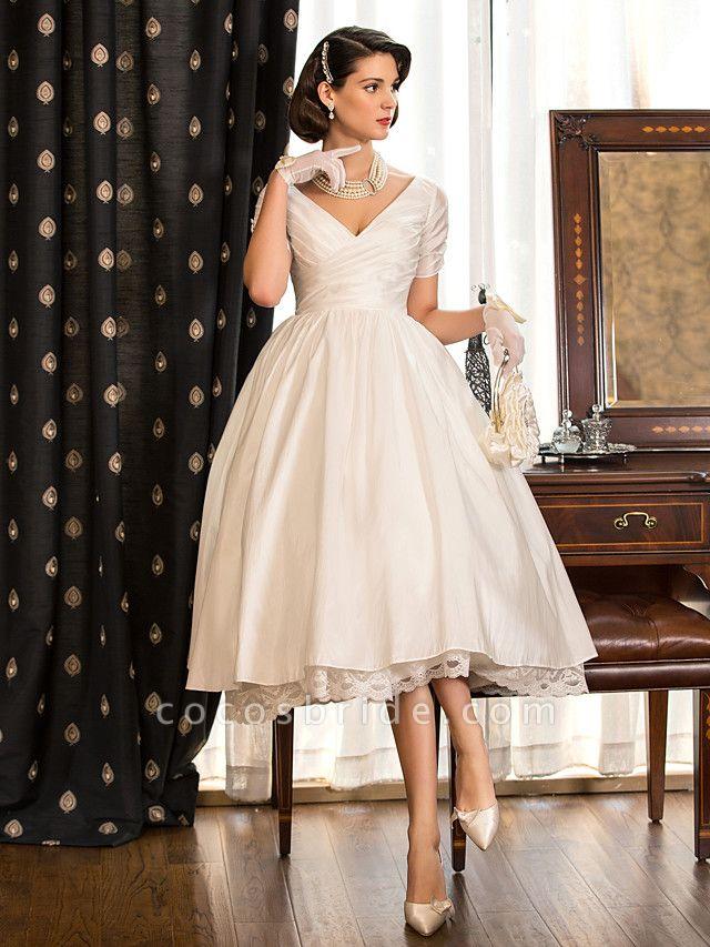 A-Line Wedding Dresses V Neck Tea Length Taffeta Short Sleeve Vintage Little White Dress 1950s