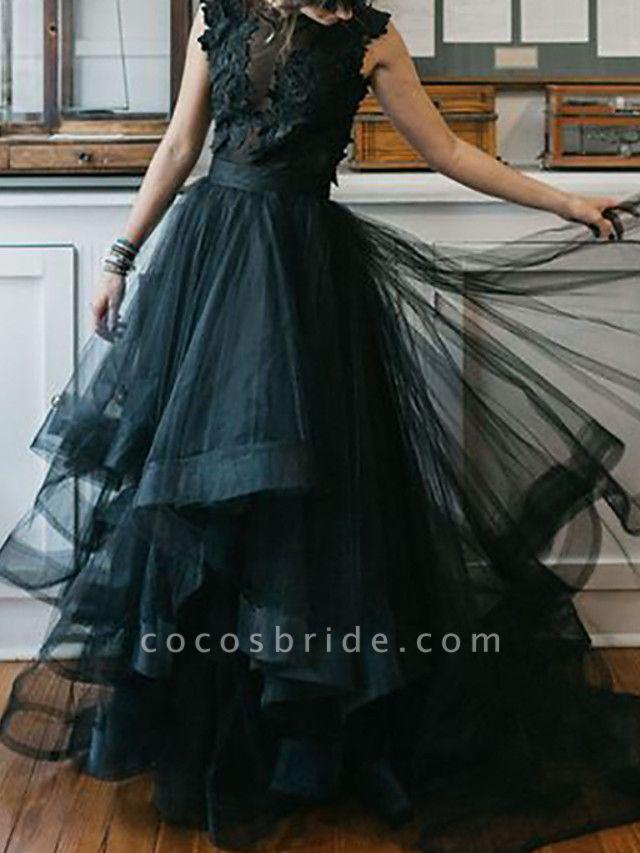 A-Line Wedding Dresses Jewel Neck Floor Length Polyester Sleeveless Formal Black Modern