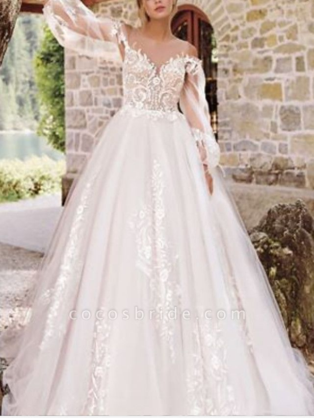 A-Line Wedding Dresses Jewel Neck Floor Length Lace Tulle Long Sleeve Formal See-Through