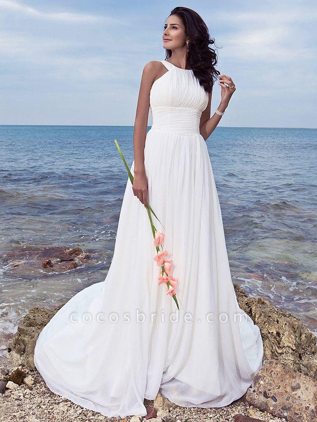 A-Line Wedding Dresses Jewel Neck Sweep \ Brush Train Chiffon Regular Straps Formal Beach Plus Size