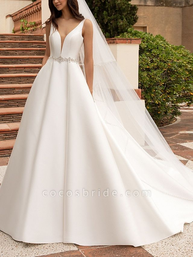 A-Line Wedding Dresses V Neck Court Train Satin Regular Straps Plus Size
