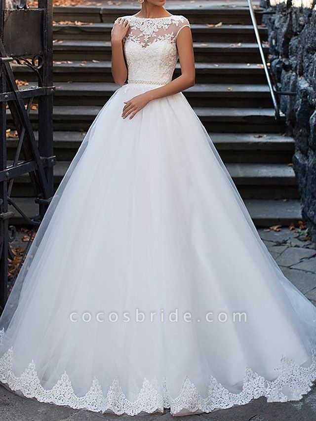 A-Line Wedding Dresses Bateau Neck Sweep \ Brush Train Lace Cap Sleeve Glamorous Vintage Illusion Detail Backless