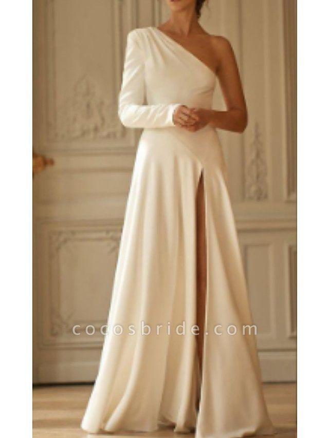 A-Line Wedding Dresses One Shoulder Sweep \ Brush Train Stretch Satin Long Sleeve Simple Modern