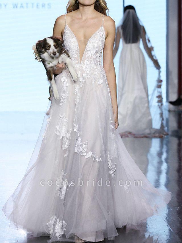 A-Line Plunging Neck Sweep \ Brush Train Tulle Polyester Sleeveless Boho Plus Size Wedding Dresses