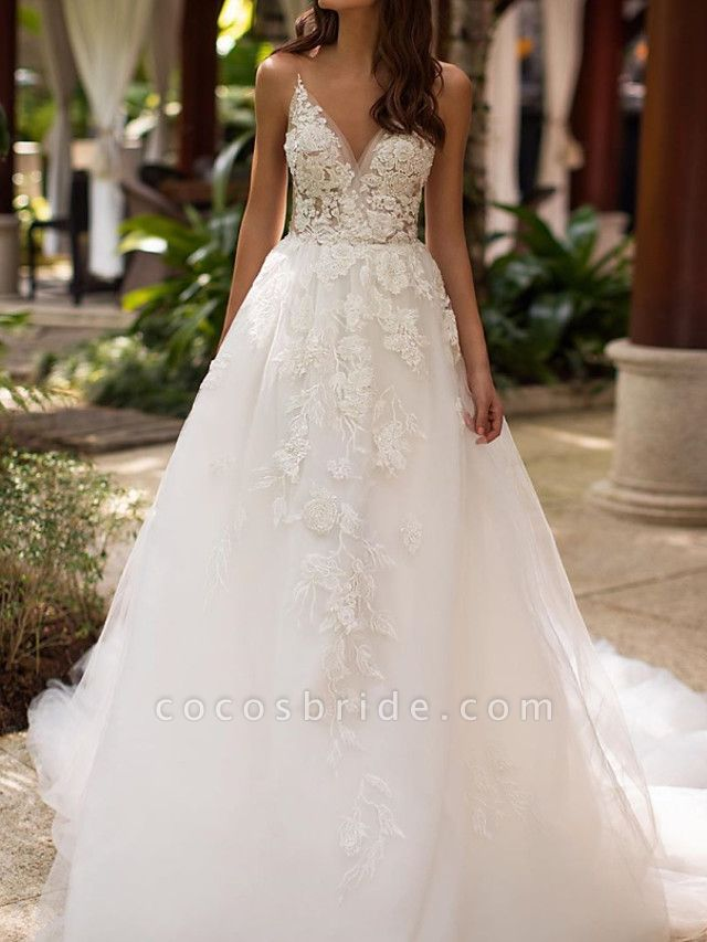 A-Line Wedding Dresses V Neck Court Train Lace Tulle Sleeveless Formal Sexy
