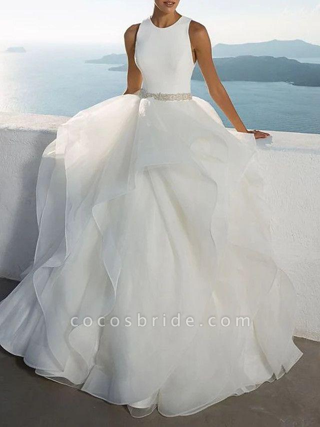 Ball Gown Jewel Neck Sweep \ Brush Train Polyester Sleeveless Beach Illusion Detail Plus Size Wedding Dresses
