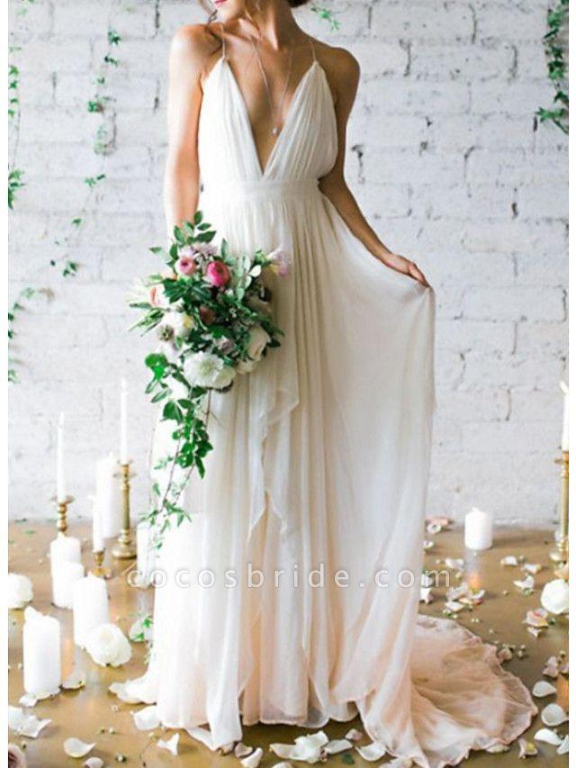 A-Line Wedding Dresses V Neck Spaghetti Strap Sweep \ Brush Train Chiffon Sleeveless Simple Beach Backless