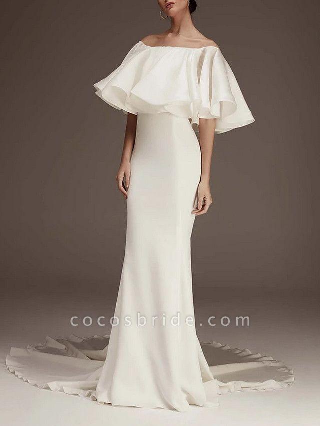 Sheath \ Column Wedding Dresses Jewel Neck Court Train Satin Half Sleeve Romantic Plus Size