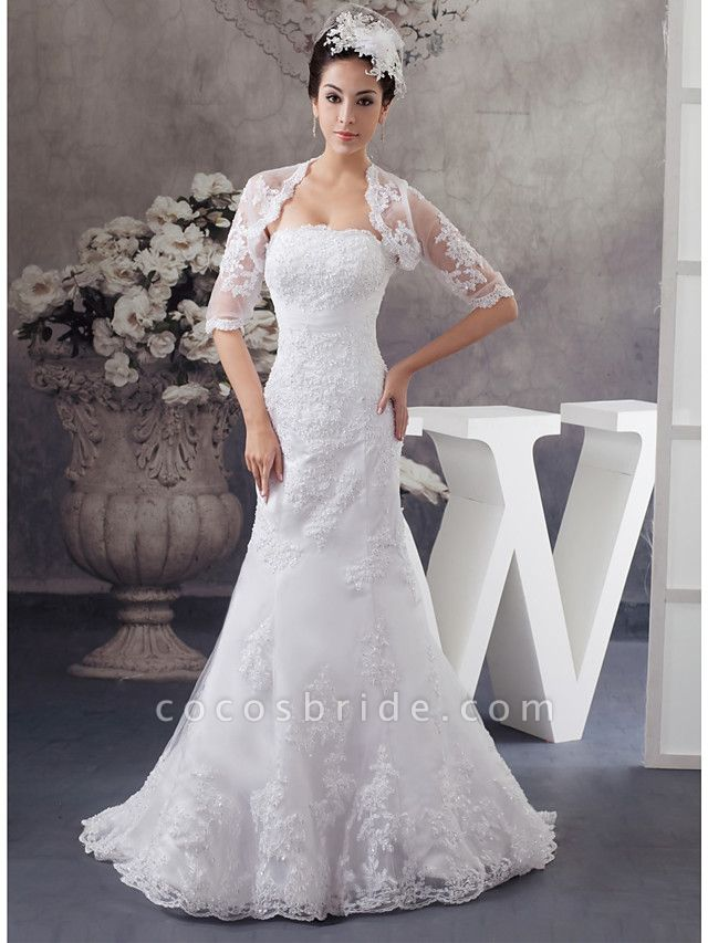 Mermaid \ Trumpet Strapless Court Train Lace Satin Half Sleeve Wedding Dresses