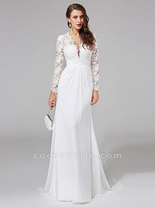 Sheath \ Column Wedding Dresses V Neck Sweep \ Brush Train Chiffon Floral Lace Long Sleeve Romantic Boho Illusion Sleeve