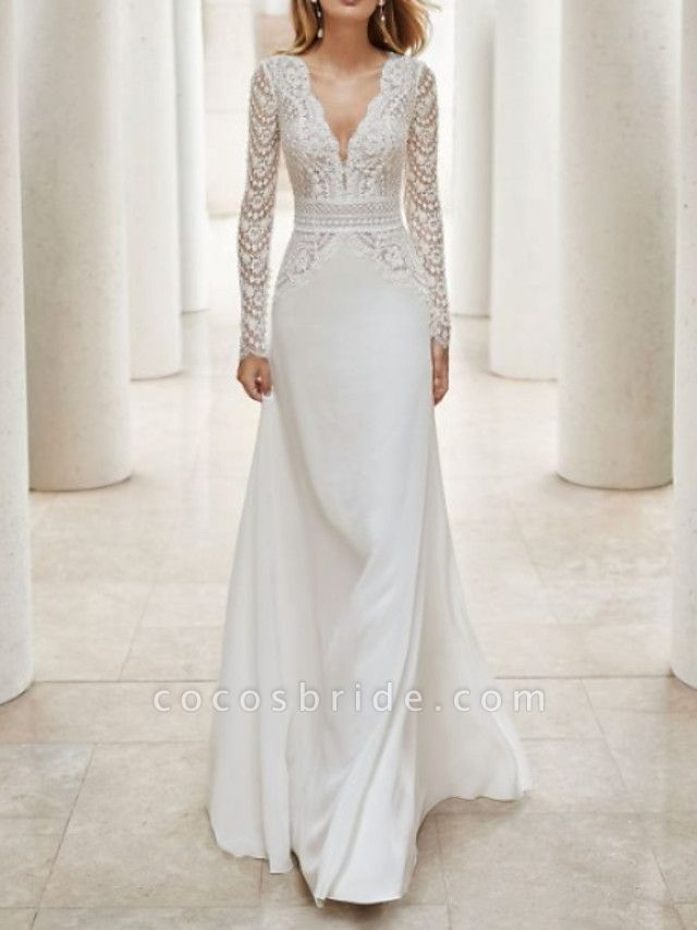 A-Line V Neck Court Train Lace Satin Long Sleeve Illusion Sleeve Wedding Dresses