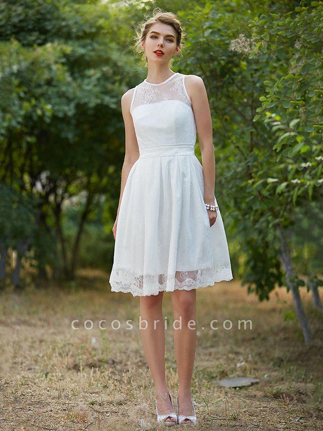 A-Line Wedding Dresses Jewel Neck Knee Length Lace Sleeveless Little White Dress