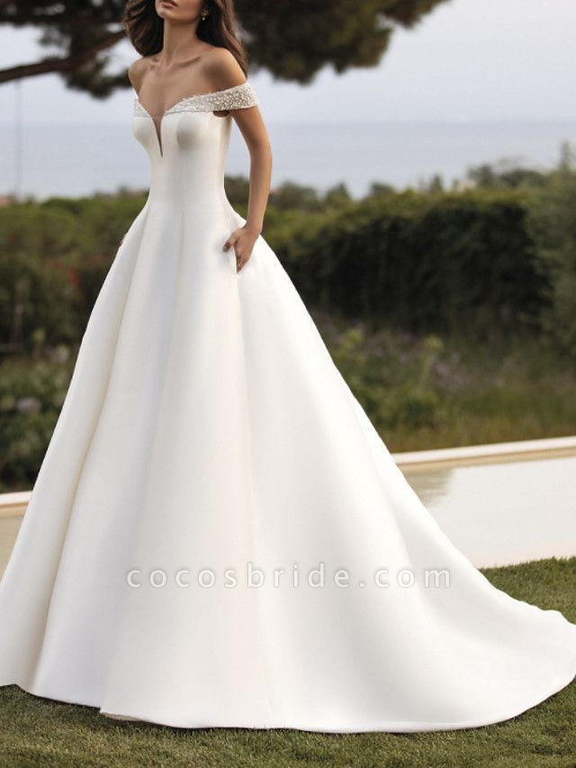 A-Line Wedding Dresses Off Shoulder Court Train Satin Sleeveless Simple