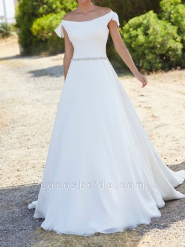 A-Line Wedding Dresses Off Shoulder Sweep \ Brush Train Polyester Cap Sleeve Country Plus Size