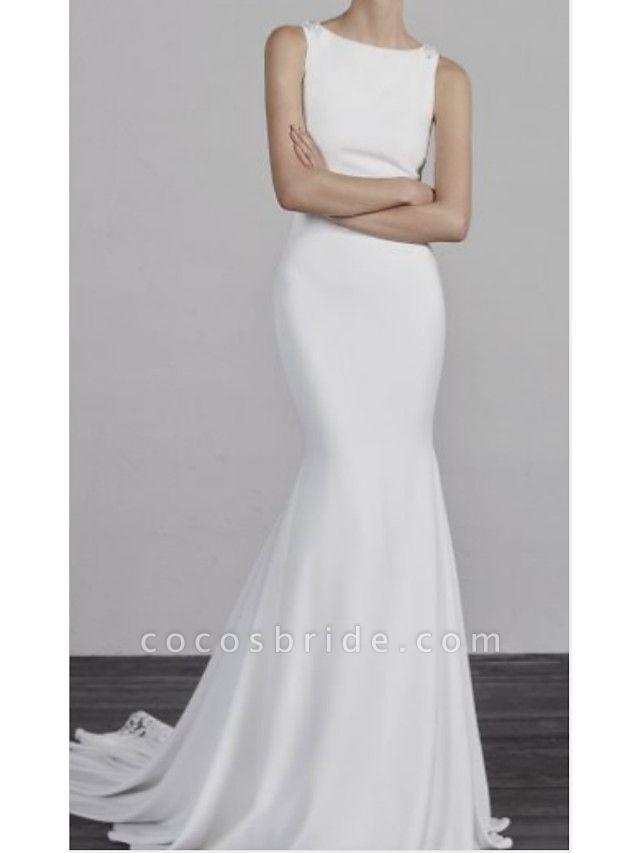 Mermaid \ Trumpet Wedding Dresses Bateau Neck Court Train Charmeuse Regular Straps Formal Plus Size