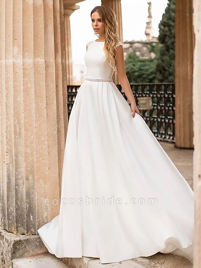 A-Line Wedding Dresses Bateau Neck Court Train Lace Polyester Cap Sleeve Country Simple Backless Elegant