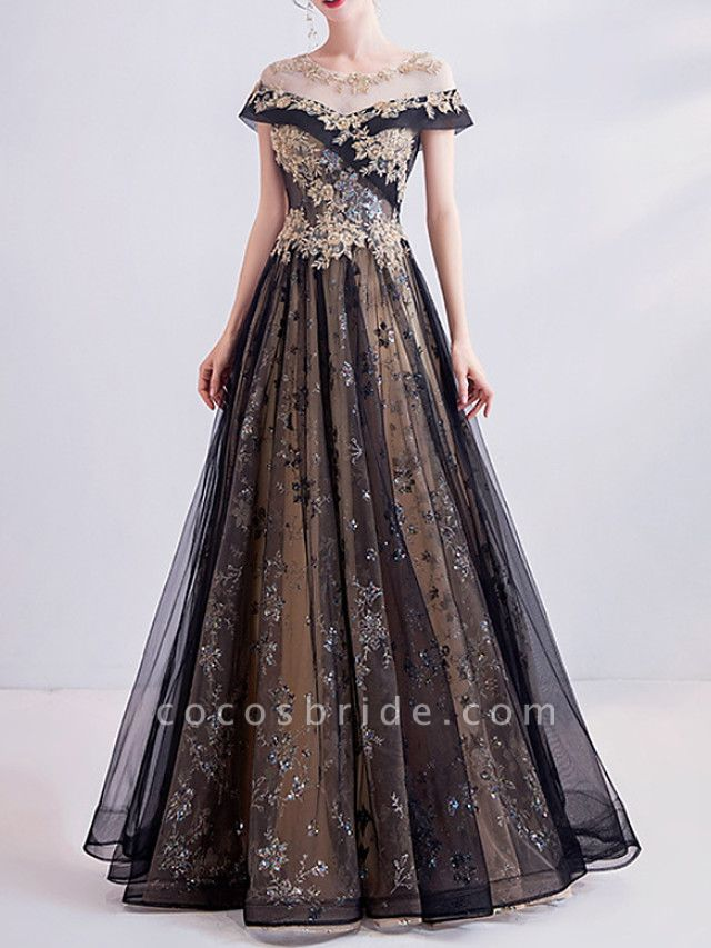 A-Line Wedding Dresses Jewel Neck Sweep \ Brush Train Lace Tulle Short Sleeve Formal Black