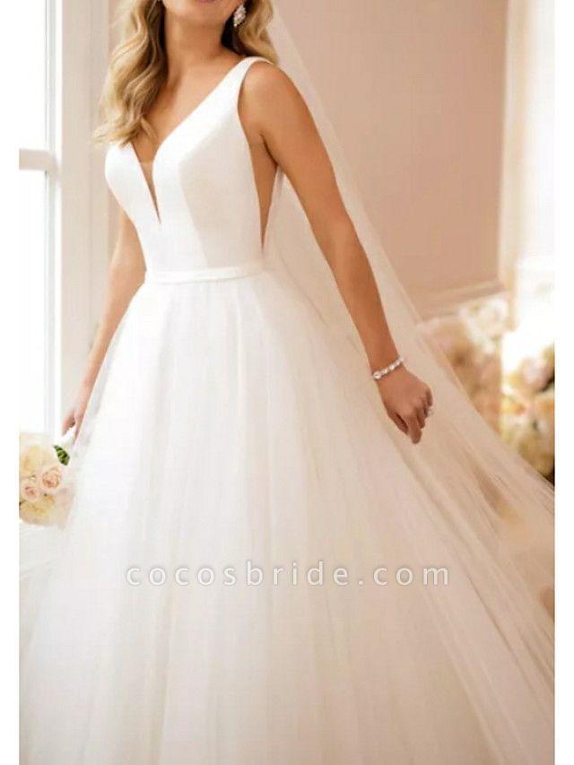 A-Line Wedding Dresses V Neck Sweep \ Brush Train Satin Tulle Regular Straps Simple Backless Elegant
