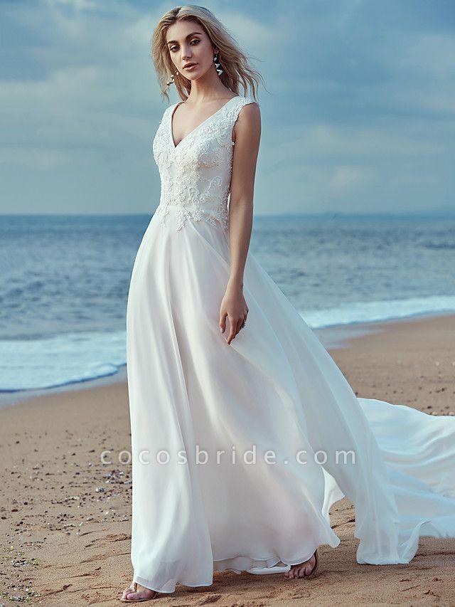 A-Line Wedding Dresses V Neck Sweep \ Brush Train Chiffon Lace Regular Straps Cutouts