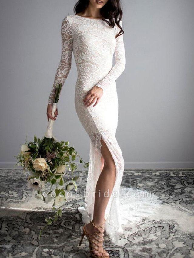 Mermaid \ Trumpet Wedding Dresses Jewel Neck Sweep \ Brush Train Lace Long Sleeve Sexy