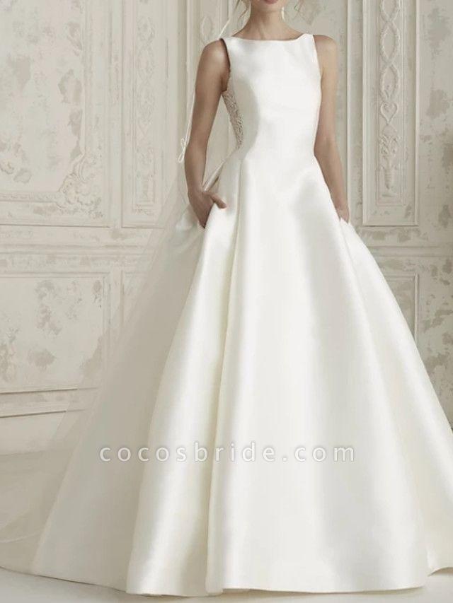 A-Line Wedding Dresses Bateau Neck Court Train Satin Regular Straps Simple Sparkle & Shine