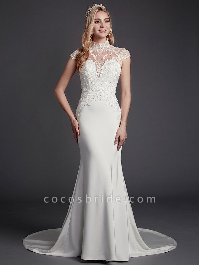 Mermaid \ Trumpet Wedding Dresses High Neck Court Train Lace Satin Sleeveless Sexy See-Through Illusion Detail Backless