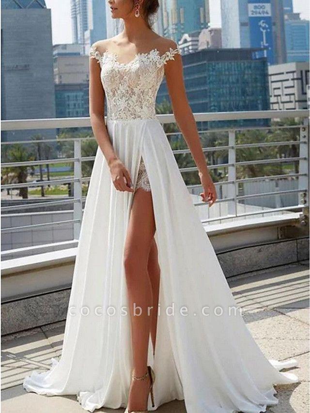 A-Line Wedding Dresses Off Shoulder Sweep \ Brush Train Lace Satin Cap Sleeve Formal Boho Plus Size