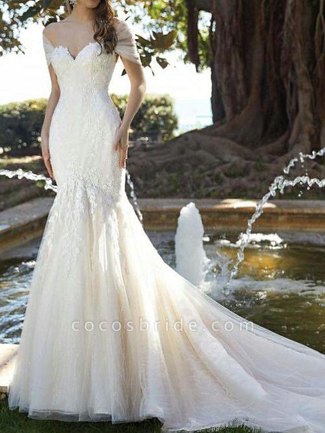 Mermaid \ Trumpet V Neck Court Train Lace Tulle Short Sleeve Formal Wedding Dresses