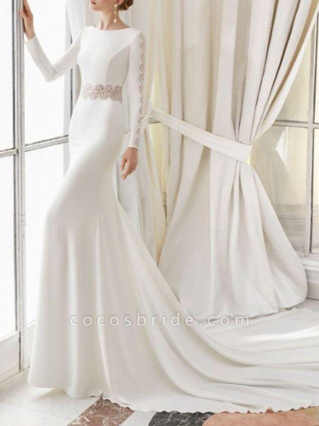 Sheath \ Column Wedding Dresses Jewel Neck Court Train Satin Long Sleeve
