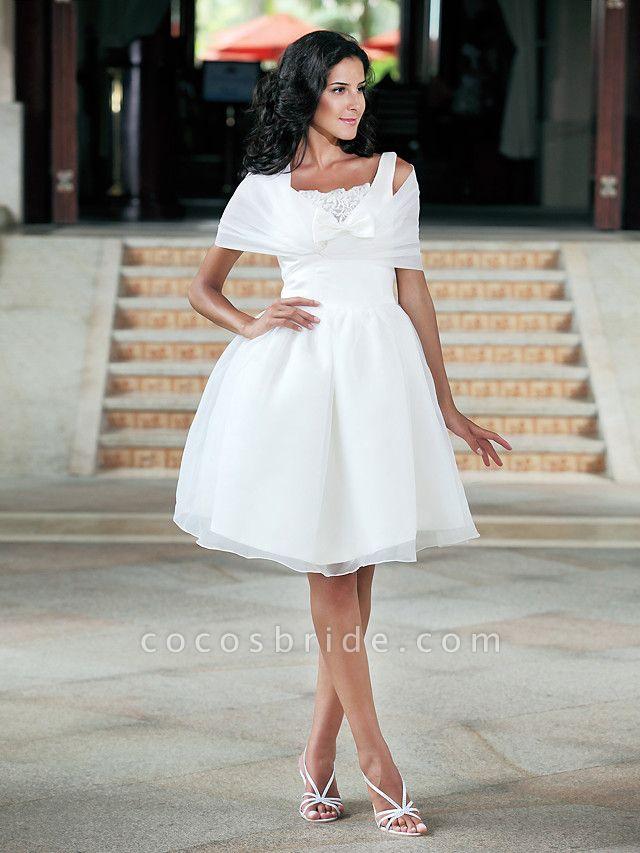 Ball Gown Wedding Dresses Square Neck Knee Length Organza Taffeta Regular Straps Little White Dress