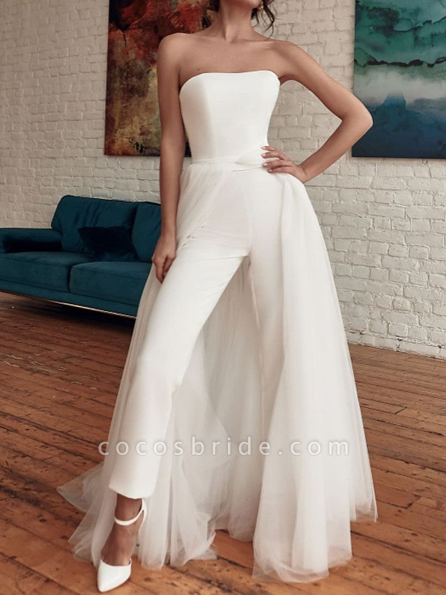 Jumpsuits Wedding Dresses Strapless Sweep \ Brush Train Detachable Tulle Stretch Satin Sleeveless Casual Modern