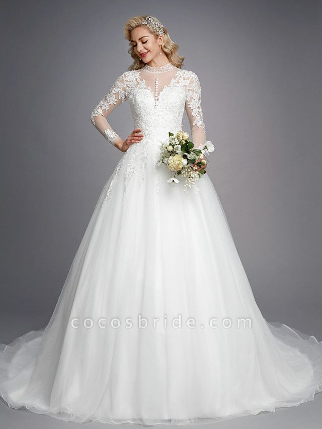 Ball Gown High Neck Court Train Lace Tulle Long Sleeve Romantic Plus Size Illusion Sleeve Wedding Dresses