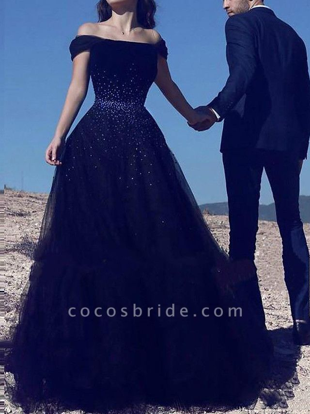 A-Line Wedding Dresses Off Shoulder Court Train Polyester Cap Sleeve Country Plus Size Black