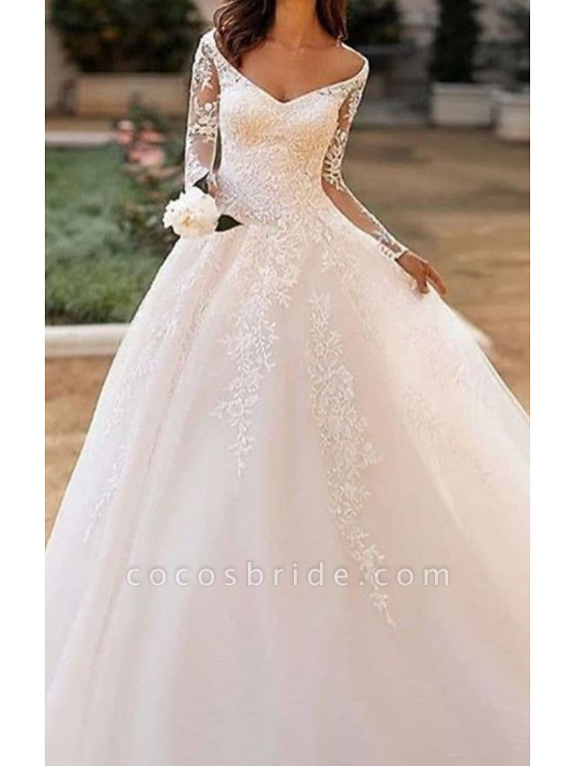 A-Line Wedding Dresses Bateau Neck V Neck Court Train Lace Tulle Long Sleeve Illusion Sleeve