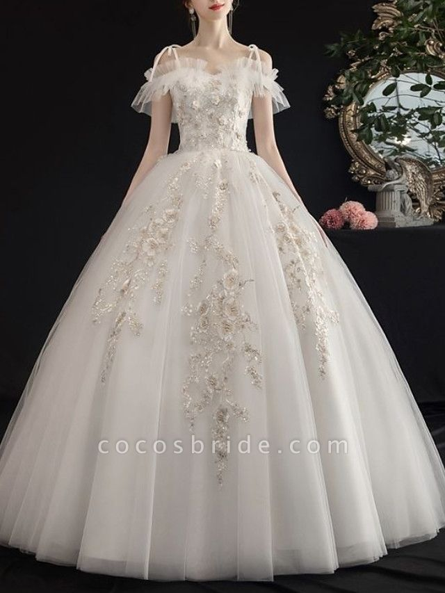 A-Line Wedding Dresses V Neck Floor Length Lace Tulle Regular Straps Casual See-Through Illusion Detail Plus Size