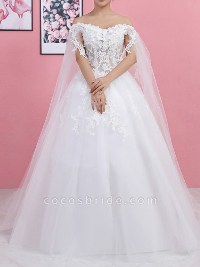 Ball Gown Wedding Dresses Off Shoulder Sweep \ Brush Train Lace Tulle Regular Straps Formal