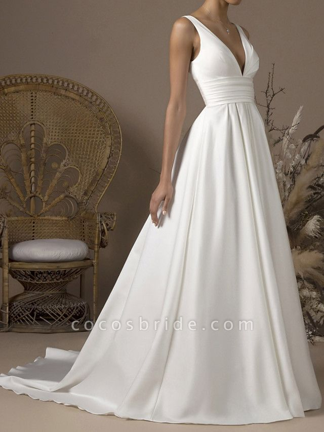 A-Line Wedding Dresses V Neck Sweep \ Brush Train Satin Sleeveless Formal