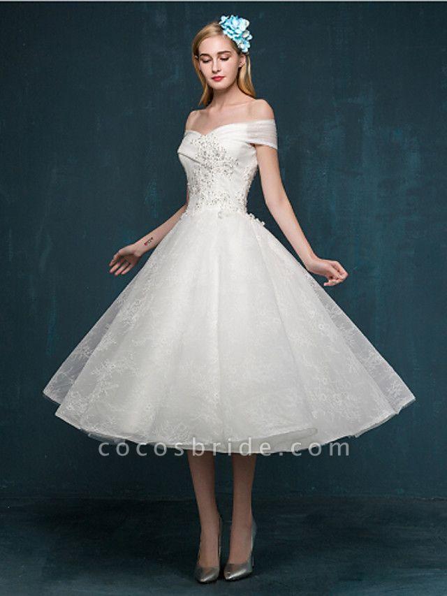 A-Line Wedding Dresses Off Shoulder Tea Length Beaded Lace Short Sleeve Casual Vintage Plus Size Cute
