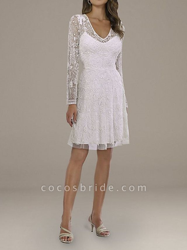 A-Line Wedding Dresses V Neck Short \ Mini Lace Tulle Long Sleeve Country Plus Size