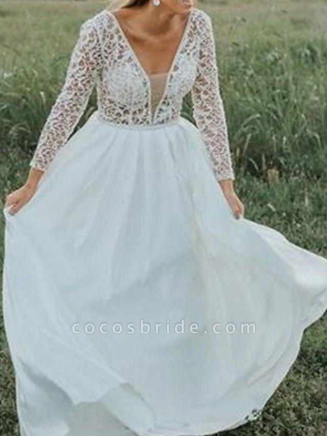 A-Line V Neck Court Train Chiffon Lace 3\4 Length Sleeve Beach Wedding Dresses