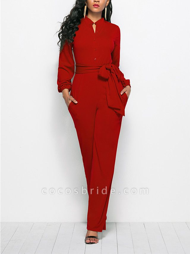 Women's Ordinary \ Business Wine Black Red Jumpsuit