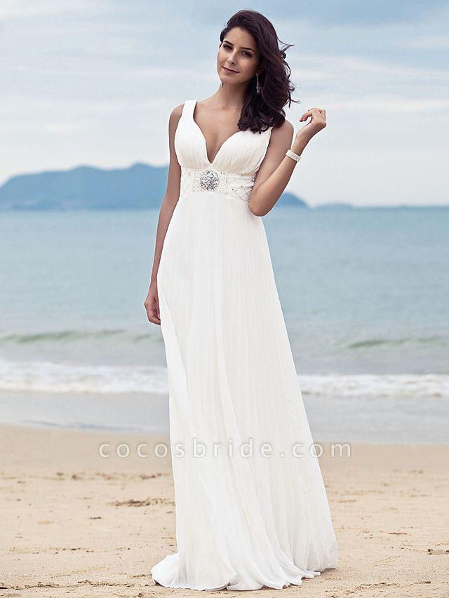 Sheath \ Column Wedding Dresses Straps V Neck Sweep \ Brush Train Floor Length Chiffon Sleeveless