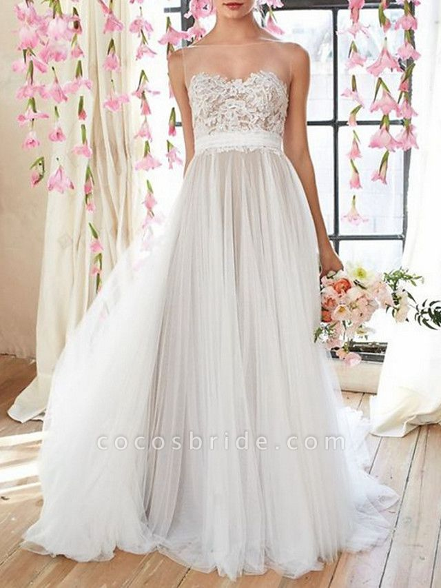 A-Line Wedding Dresses Jewel Neck Court Train Tulle Spaghetti Strap